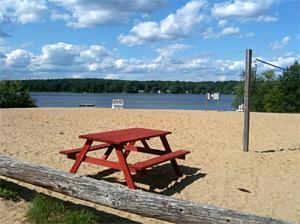 picnic table at lake